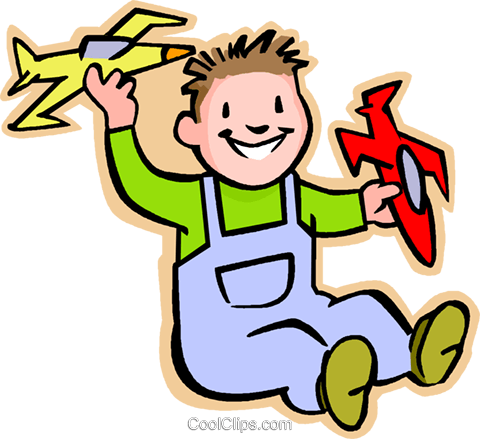 little boy with model airplanes Royalty Free Vector Clip Art illustration vc005555