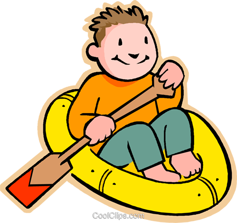 little boy in rubber raft Royalty Free Vector Clip Art illustration vc005561