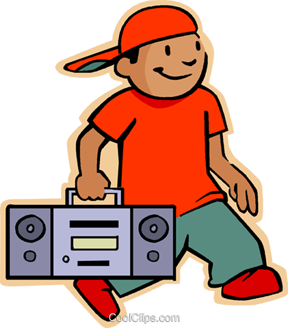 little boy with his portable stereo Royalty Free Vector Clip Art illustration vc005565
