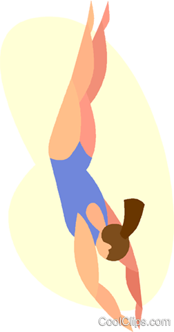 women's diving Royalty Free Vector Clip Art illustration vc005581