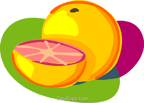 Sliced grapefruit Royalty Free Vector Clip Art illustration vc005607