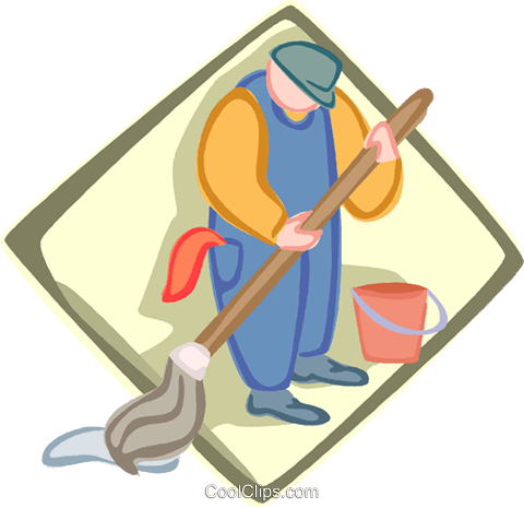 janitor, custodian Royalty Free Vector Clip Art illustration vc005620
