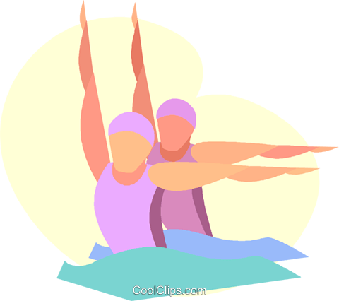 Synchronized swimmers Royalty Free Vector Clip Art illustration vc005628