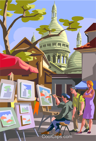 European market scene, artist painting Royalty Free Vector Clip Art illustration vc005652
