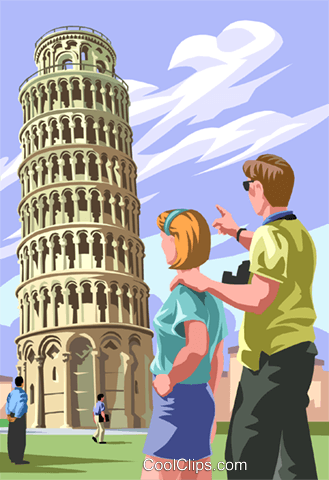 Leaning Tower of Pisa Royalty Free Vector Clip Art illustration vc005655