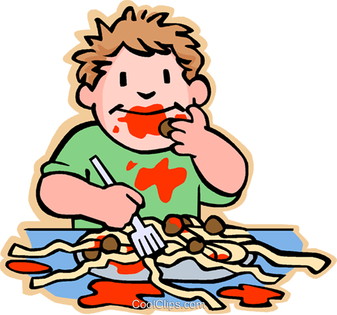 boy eating spaghetti and meat balls Royalty Free Vector Clip Art illustration vc005657