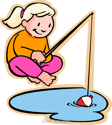 girl fishing Royalty Free Vector Clip Art illustration vc005660