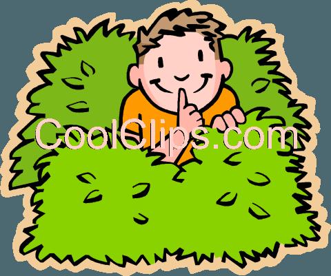 boy hiding in bushes Royalty Free Vector Clip Art ...