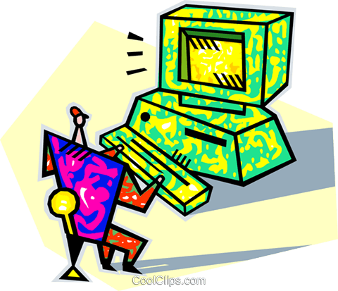 human form working at a computer Royalty Free Vector Clip Art illustration vc005666