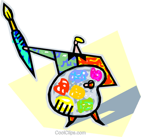 human form with artist palette and brush Royalty Free Vector Clip Art illustration vc005668