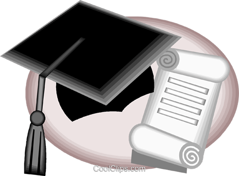 Diploma and graduate's cap, scroll Royalty Free Vector Clip Art illustration vc005747