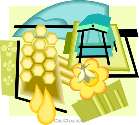 apiary, honeybees, honey Royalty Free Vector Clip Art illustration vc005752