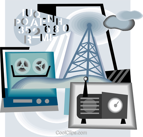 broadcast radio waves Royalty Free Vector Clip Art illustration vc005754
