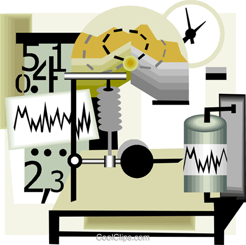 seismology science monitoring equipment Royalty Free Vector Clip Art illustration vc005762