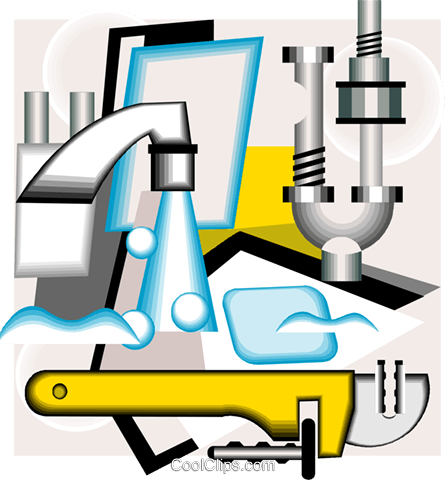 plumbing tools in a neo-modern montage Royalty Free Vector Clip Art illustration vc005766
