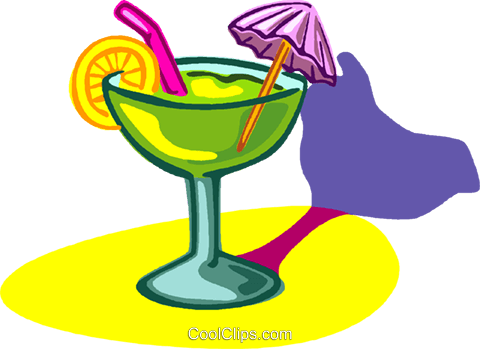 exotic drink with umbrella Royalty Free Vector Clip Art illustration vc005809