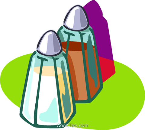 salt and pepper shakers Royalty Free Vector Clip Art illustration vc005822