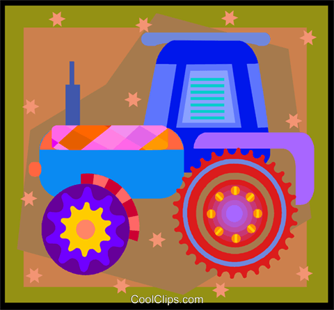 farm tractor in decorative frame Royalty Free Vector Clip Art illustration vc005839