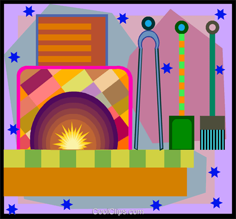 fire place and tools in decorative frame Royalty Free Vector Clip Art illustration vc005846