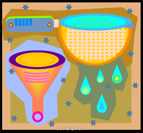 kitchen strainer and funnel Royalty Free Vector Clip Art illustration vc005850