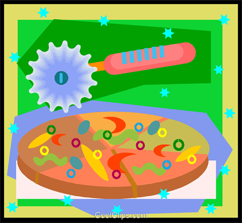 pizza with pizza cutter, snacks Royalty Free Vector Clip Art illustration vc005854