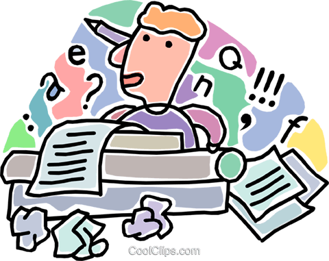 man writing a story Royalty Free Vector Clip Art illustration vc005985