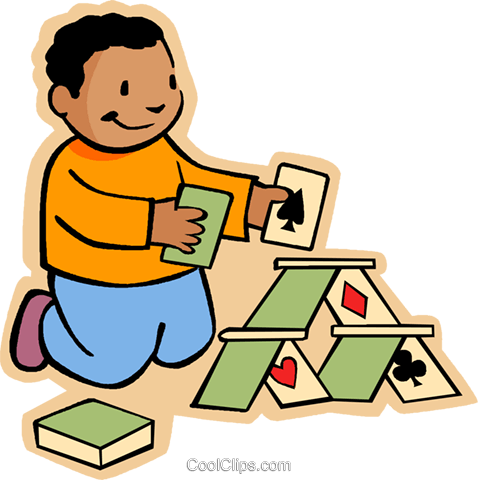 boy making house of cards Royalty Free Vector Clip Art illustration vc006027