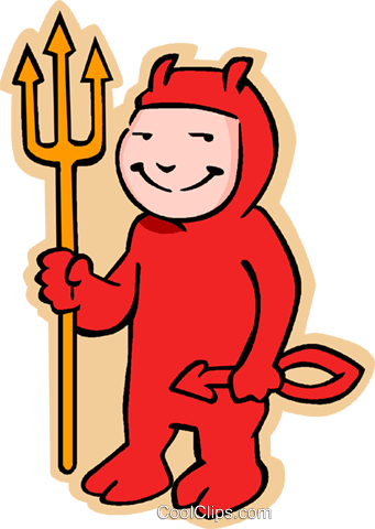 boy in devil Halloween costume Royalty Free Vector Clip Art illustration vc006032