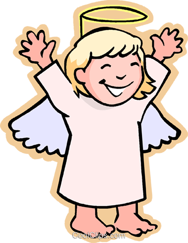 Kinder Spielen Kinder Mädchen Engel Vektor Clipart Bild Vc006033