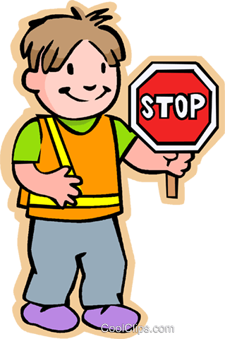 boy crossing guard with stop sign Royalty Free Vector Clip Art illustration vc006036