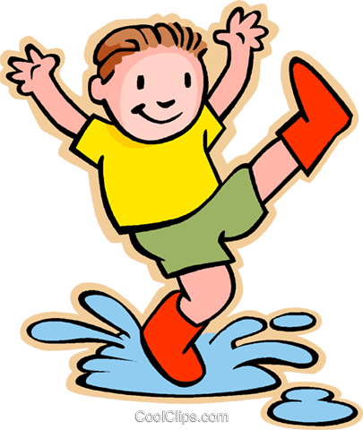 boy jumping in rain puddle Royalty Free Vector Clip Art illustration vc006040