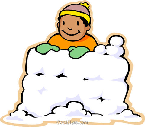 boy in snow fort, snow fight Royalty Free Vector Clip Art illustration vc006042