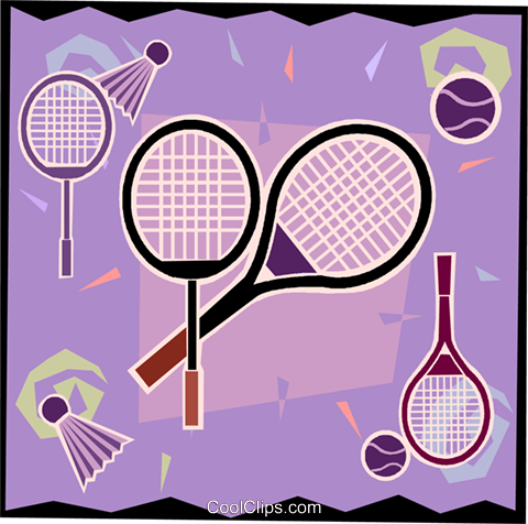 Tennis rackets, sports, racket sports Royalty Free Vector Clip Art illustration vc006092