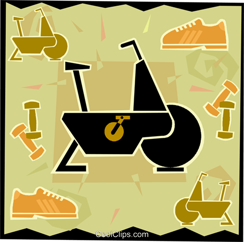 exercise bicycle and equipment Royalty Free Vector Clip Art illustration vc006097