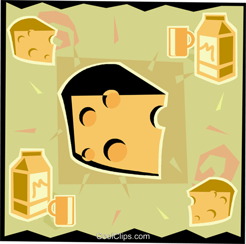 cheese and dairy products Royalty Free Vector Clip Art illustration vc006098