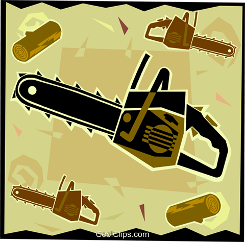 chainsaw, workshop tools Royalty Free Vector Clip Art illustration vc006099