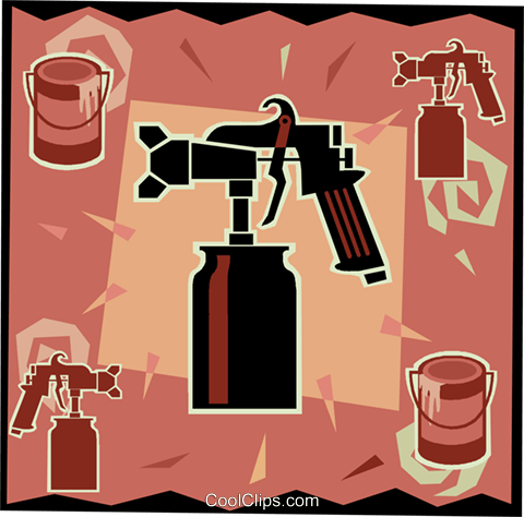 paint sprayer, workshop tools Royalty Free Vector Clip Art illustration vc006110