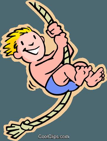 Kinder spielen, Kinder, am Seil schwingen Vektor Clipart ...