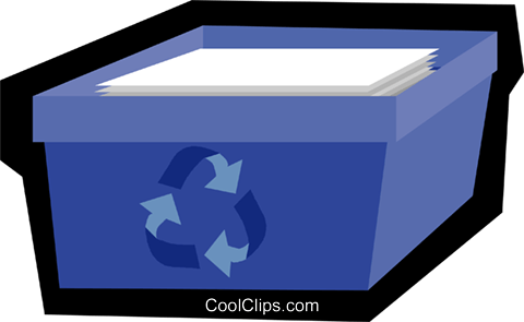 blue box, recycle Royalty Free Vector Clip Art illustration vc006134