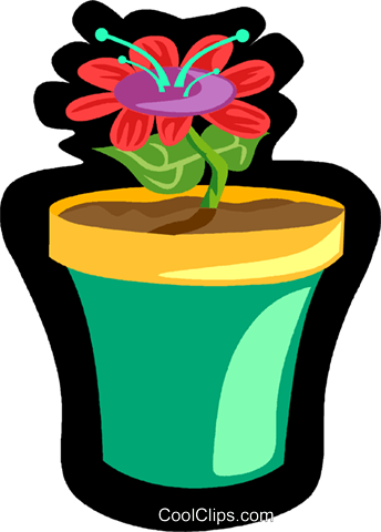 flower in pot Royalty Free Vector Clip Art illustration vc006144