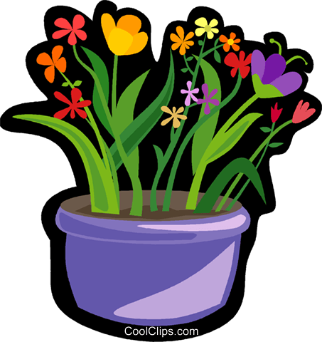 colorful flowers in pot Royalty Free Vector Clip Art illustration vc006158