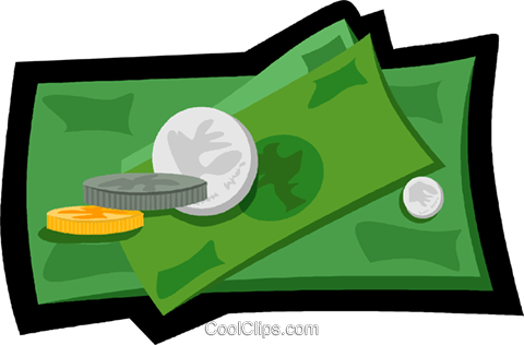 paper money and change symbols Royalty Free Vector Clip Art illustration vc006173