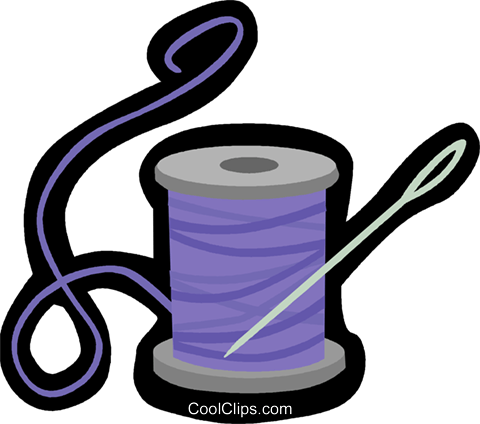 needle and thread Royalty Free Vector Clip Art illustration vc006180