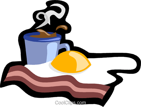 breakfast, bacon and eggs Royalty Free Vector Clip Art illustration vc006182