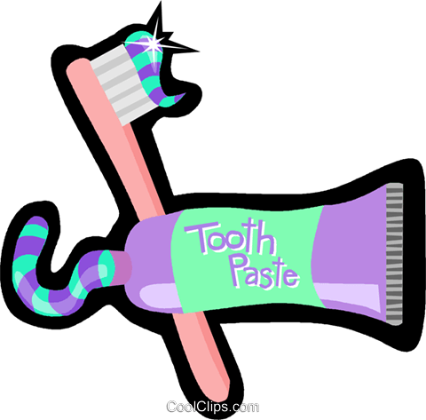 toothbrush and toothpaste Royalty Free Vector Clip Art illustration vc006188