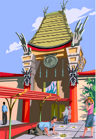 Mann's Chinese theatre, Los Angeles Royalty Free Vector Clip Art illustration vc006198