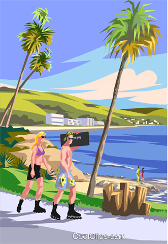 Two people roller blading at the beach Royalty Free Vector Clip Art illustration vc006200