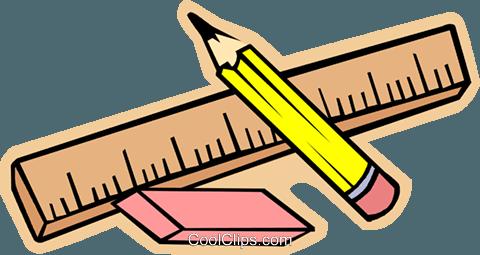 Büromaterial clipart  Lineal, Bleistift und Radiergummi Vektor Clipart Bild -vc006201 ...