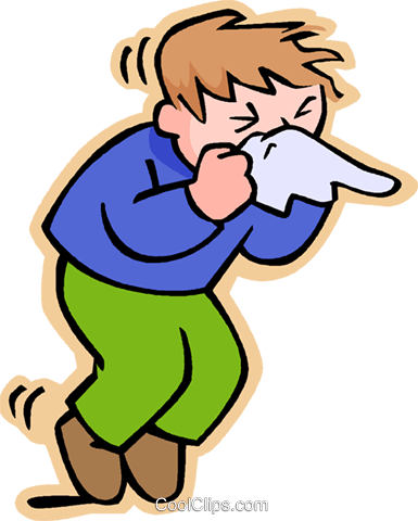 Children at play, kids, boy sneezing Royalty Free Vector Clip Art illustration vc006208