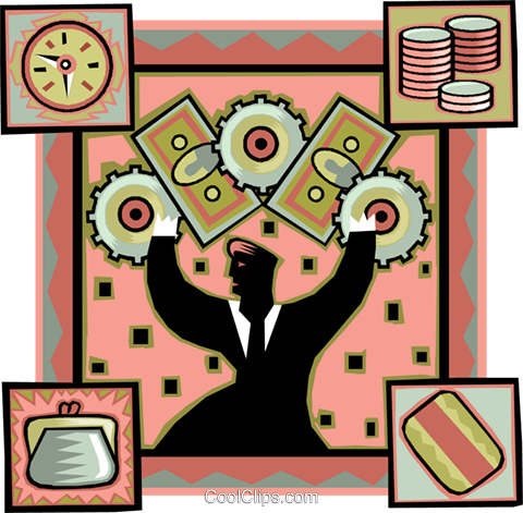the gears of finance Royalty Free Vector Clip Art illustration vc006273